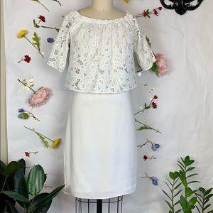 Shoshanna Astor lace eyelet off shoulder dress
